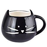 FPBS Nette Neizende Katzen Tasse Becher Kätzchen Kaffee Tasse Tee Tasse Kaffeetasse (Schwarz)