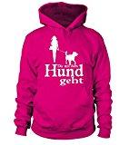 HUNDE Motiv Kapuzen-Pullover-Hoodie-Sweatshirt: Die mit dem Hund geht (Frau mit Tasche) - Damen Shirt Größe S bis XXXXL - in versch. Farben