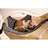 Katze-Hängematte-Bett - weiche warme und bequeme Haustier-Hängematte Gebrauch mit Stuhl für Kätzchen, Frettchen, Welpe oder kleines Haustier (Khaki)