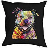 Pitbull - Hunde Neon Pop Art Motiv - Kissen mit Innenkissen - Beware Of Pit Bulls - buntes Hunde Portrait - Deko u Nutzkissen 40x40 cm schwarz : )