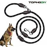 Premium Hundeleine Doppelleine 2m von TOPHGDIY für große Hunde 4 fach verstellbar Führleine Laufleine Umhängeleine Leder Leine Gurt für Hunde schwarz