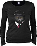 Unbekannt Katzen Motiv Katze Langarmshirt Damen Agent Cat Longshirt Geschenk Frauen Katzenhalter Geschenk für Katzenfreunde